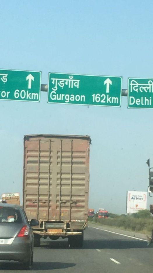 Bangalore to Gurgaon: signboard
