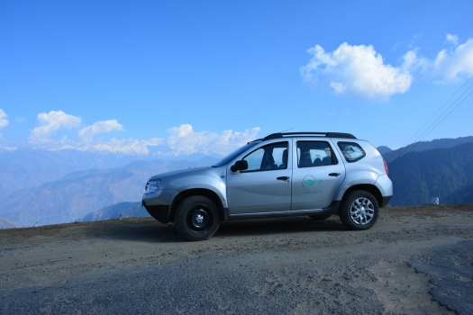Driving a Duster near Dalhousie, rented from Revv