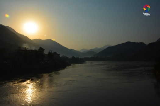 sunrise over river sutlej